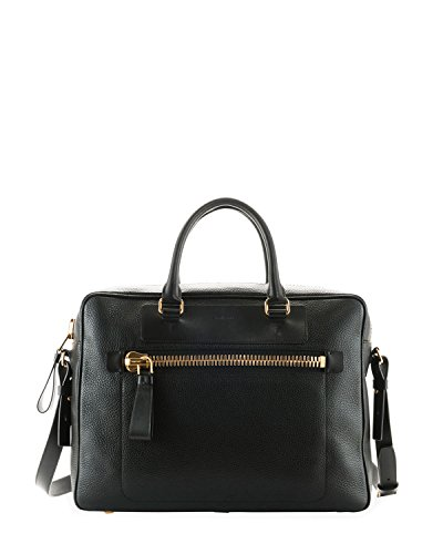 Tom Ford Men's Buckley Front Zip Black Leather Briefcase