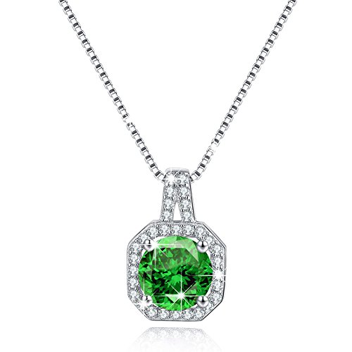 Green Diamond Solitaire (Solitaire Cubic Zirconia CZ Birthstone Necklace May Emerald Green Halo Diamond Pendant Necklace Mother's Day Gift)