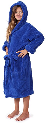 - Indulge Girls Robe, Kids Hooded Soft and Plush Bathrobe, Made in Turkey (Royal Blue, Small)