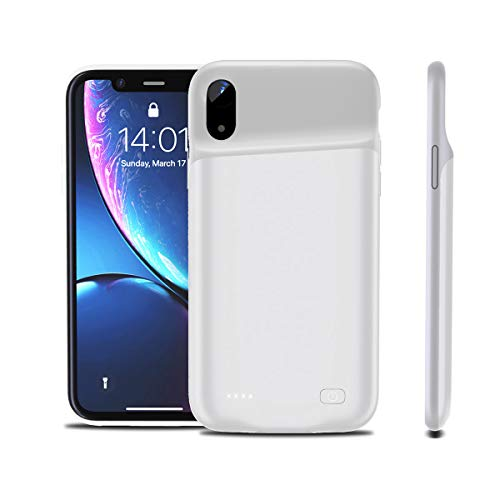 Yuqoka Compatible with iPhone Xr Battery Case, 4200mAh Portable Protective Charging Case Rechargeable Backup Extended Battery Power Bank for iPhone Xr White