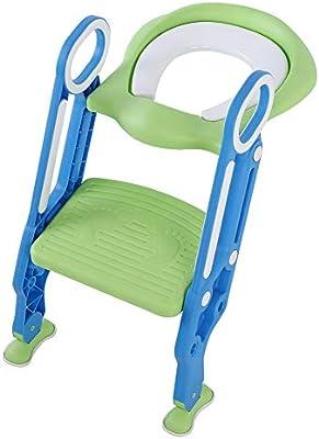 Reductor WC para niños con Escalera plegable, asiento de inodoro orinal con escalera ajustable asiento de aprendizaje, Niños Orinal para bebé orinal para Toilette: Amazon.es: Bebé