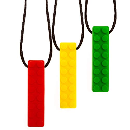 Mindful Creations Sensory Chew Necklace - Autism ADHD Teething Toys for Kids - 3 Pack Chewy Sticks for Boys and Girls
