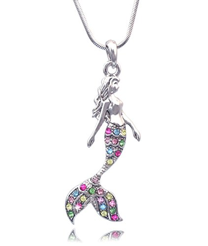cocojewelry Mermaid Pendant Necklace Jewelry (Multi-Color) -