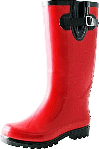 TWO Nomad Women's Drench Colorful Pattern Print Waterproof Rain Boots (8 B(M) US, Shiny Red)