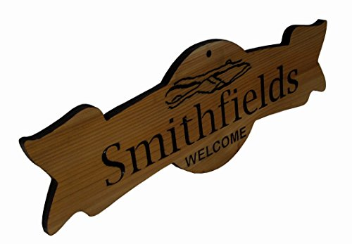 Customized Carved Wood Cedar Ribbon Shaped Door Sign