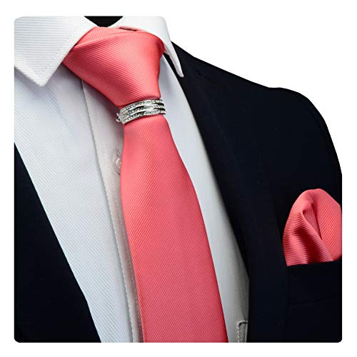 GUSLESON Brand Mens Casual Solid Pink Wedding Tie Necktie and Clasp Bar Pins Pocket Square Sets (0799-08-S)