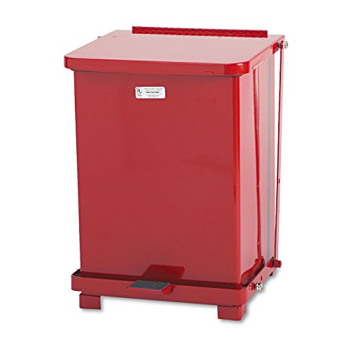 Rubbermaid Commercial St7erdpl Defenders Biohazard Step Can  Square  Steel  7Gal  Red