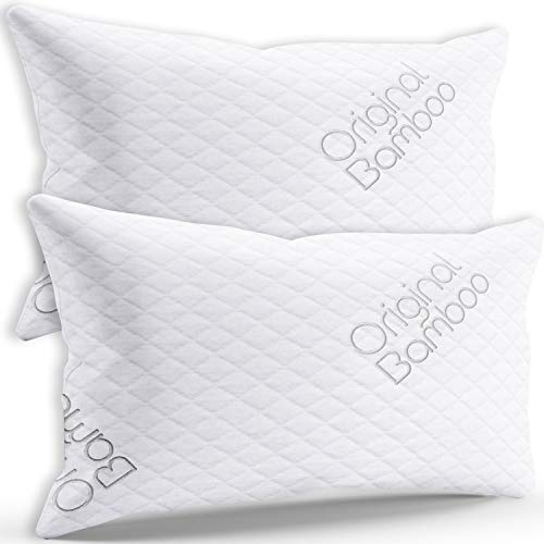 Luxury PREMIUM Shredded Memory Foam Pillow { Standard / Queen } 2 Pack Cooling Sleeping Hotel Adjustable Loft - Back or Side Sleeper Pillow Cool Bed Pillows For Sleeping Washable Hypoallergenic Cover