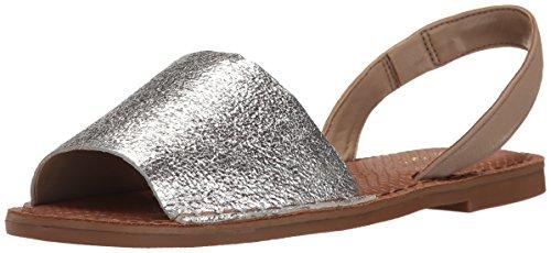 Nine West Women's Izzio Metallic Dress Sandal, Silver/Dark Taupe, 6.5 M US 25025279