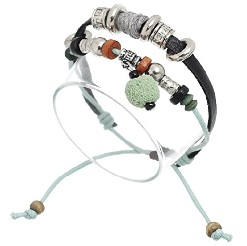 (Pro Jewelry Silver Plated Black & Green/Blue W/Antique Silver Assorted Beads Wax Bracelets 00384)
