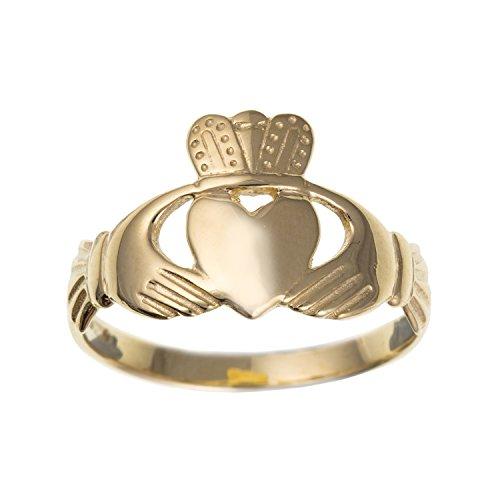 Womens Or jaune 9ct classique Claddagh celtique Alliance-irlandais-Bijoux Tailles L-q Disponible