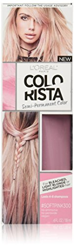 L'Oréal Paris Colorista Semi-Permanent Hair Color for Light Bleached or Blondes, SoftPink (Best Wash In Wash Out Hair Dye)