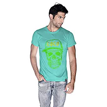 Creo Green Yellow Coco Skull T-Shirt For Men - L, Green