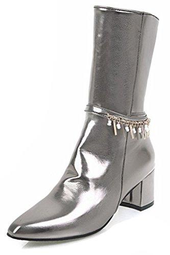 Aisun Womens Elegante Hanger Vierkante Teen Binnenkant Zip-up Chic Blok Medium Hak Mid-kalf Laarzen Schoenen Met Ritssluiting Pistool