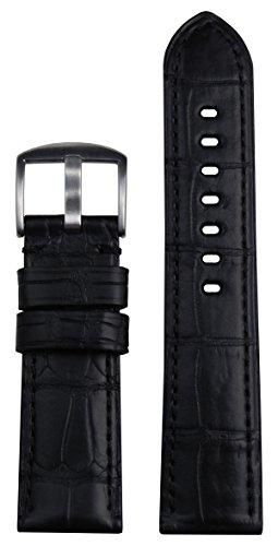24mm Panatime Black Genuine Louisiana Alligator Skin Watch Band with Black Stitching 125/75 24/22