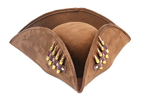 - Brown Pirate Hat Real .223 Bullet Leather Strap Costume Hat Steampunk Halloween