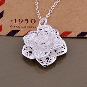 Flower Paradise Diamond (Paradise jewelry - flower wedding Silver Plated Necklace fashion cute lady women hot sale)
