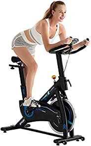 leikefitness Indoor Cycling Bike Stationary Easy to Assemble Ultra-Quiet Exercise Bike with LCD Display for Ho