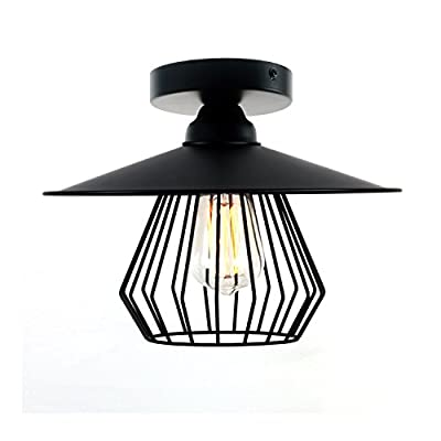 Unitary Brand Antique Black Metal Kitchen Cage Semi Flush Mount Ceiling Light with 1 E26 Bulb Socket 60W Painted Finish