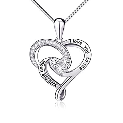 """925 Sterling Silver Jewelry """"I Love You To The Moon and Back"""" Love Heart Pendant Necklace"""