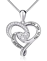 """925 Sterling Silver Jewelry Engraved""""I Love You To The Moon and Back"""" Love Heart Pendant Necklace"""