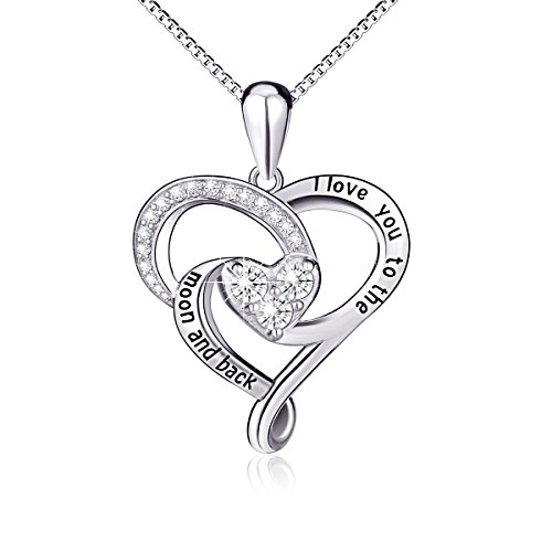 "925 Sterling Silver Jewelry ""I Love You To The Moon and..."