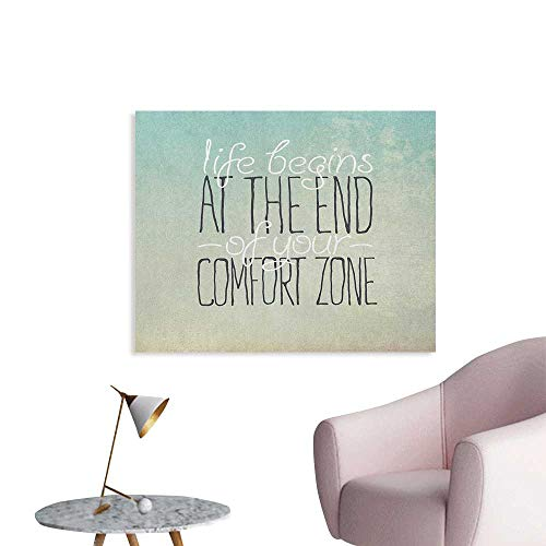 Anzhutwelve Lifestyle Photographic Wallpaper Motivational Life Begins at The End of Your Comfort Zone Quote Concept Print Art Poster Multicolor W32 xL24 ()