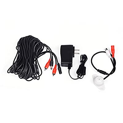 Tonton High Sensitive Weatherproof Preamp Microphone Audio Pickup Device Sound Voice Pickup Kit with 60 Feet Cable and Power Supply for CCTV Surveillance Camera System