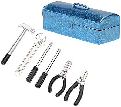 ETbotu Mini herramienta de reparación, 6 piezas/set Mini Hammer Wrench Herramientas de reparación Box para 1:10 Simulación RC Auto cincelado D90 SCX10 90046 turquesa: Amazon.es: Bebé