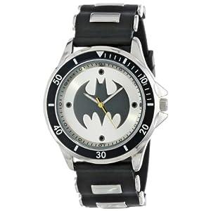 Batman-Mens-BAT9062-Reloj-anlogo-con-brazalete-de-hule-negro