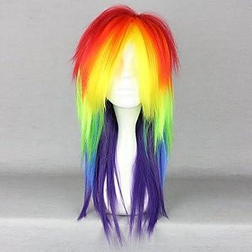 OOFAY JF® cosplay nueva peluca larga del pelo recto , multicolor