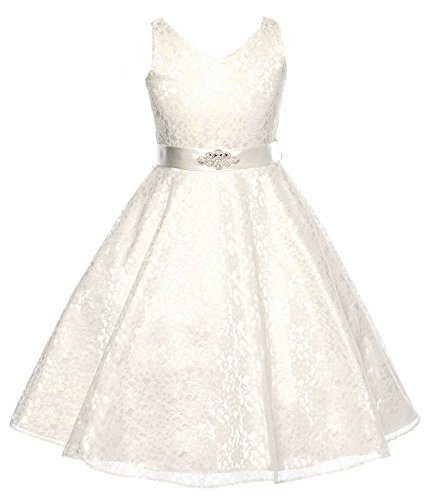 DressForLess Lovely Lace V-Neck Flower Girl Dress , Ivory, 4