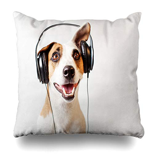 Suesoso Decorative Pillows Case 18 X 18 Inch Dog Headphones Music Happy PetThrow Pillowcover Cushion Decorative Home Decor Nice Gift Garden Sofa Bed Car]()