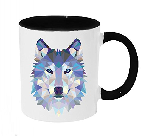 (Low Poly Geometric Blue Ice Wolf Coffee or Tea 11oz Mug - Perfect Gift for Wolf and Animal Lovers)