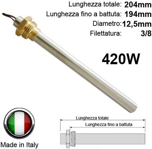 Resistencia Bujía Encendido para estufa de pellets 420W 204mm 194mm; Diámetro 12,5mm; Rosca 3/8