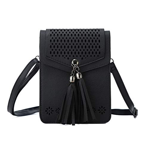 Women Small Crossbody Bag - Cell Phone Purse Smartphone Wallet Bags (226-black with tassel) (L S3 Mini)