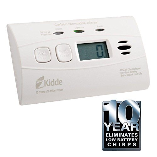 Kidde 21009720 Worry Free 10-Year Lithium Ion Battery Operated CO Alarm with Digital Display (Operated Kidde Carbon Battery)
