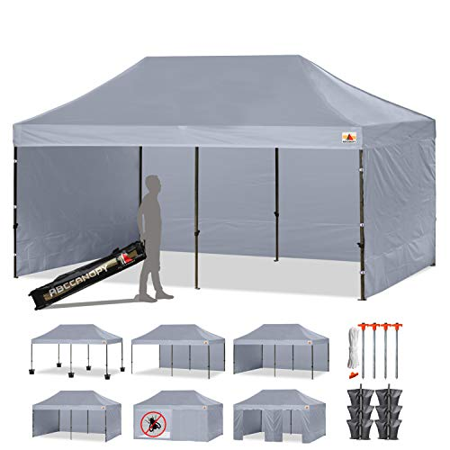 ABCCANOPY 18+Colors Deluxe 10x20 Pop up Canopy Outdoor Party Tent Commercial Gazebo with Enclosure Walls and Wheeled Carry Bag Bonus 6X Weight Bag and 2X Half Wall (Gray)