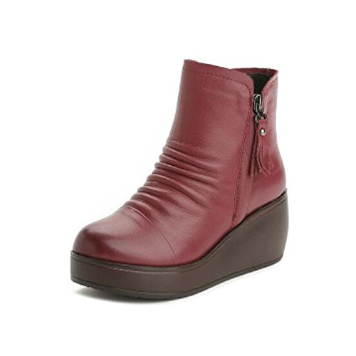 Ankle Flat for PU Women's Booties Boots Red Shoes ZHZNVX Toe Black Round Fall Comfort Boots HSXZ Winter Casual Black q8pW7