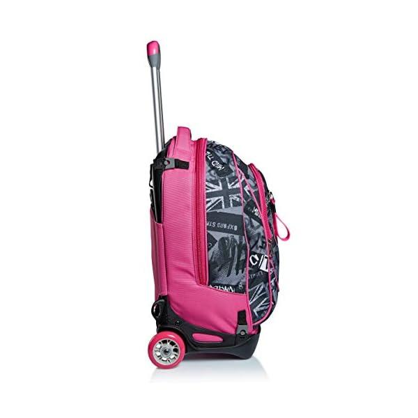 Trolley New Tech Seven, Keep Flag, Rosa, 3in1 Zaino Sganciabile, Scuola & Viaggio 3 spesavip
