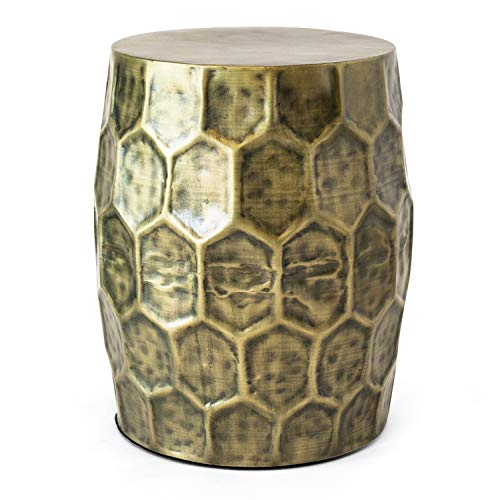 - POLY & BARK LI-101-BRS Delano Honeycomb Accent Table, Antique Brass