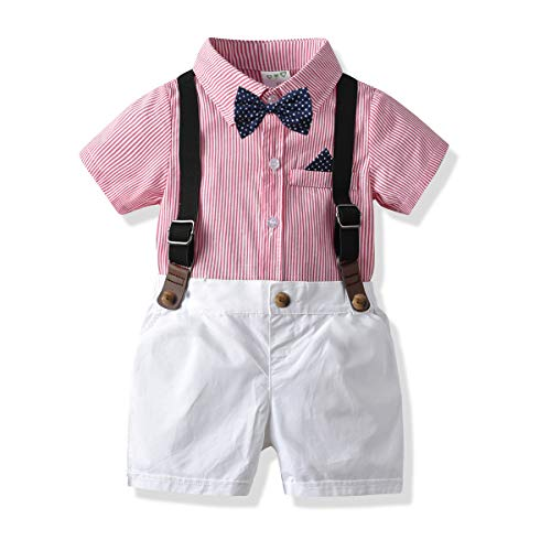 Carlstar Little Boys Gentleman Outfit Suits,Baby Boys Short Pants Set,Short Sleeve Shirt+Suspender Pants+Bow Tie 4Pcs (Pink, 1-2T/80)