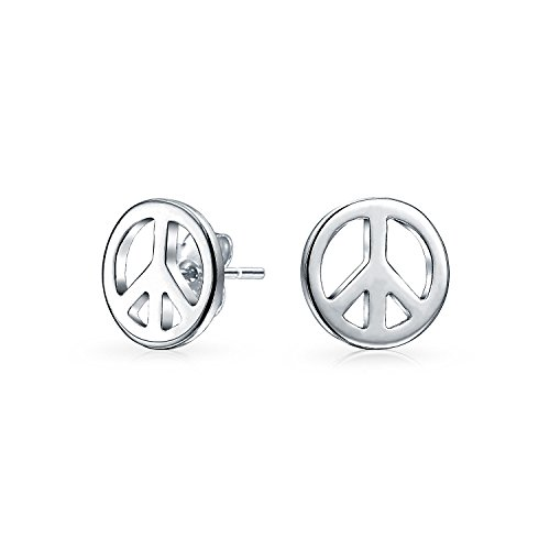 - Bling Jewelry Children Peace Sign Sterling Silver Stud Earrings