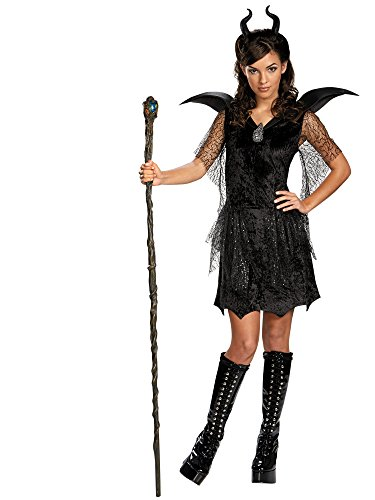 Disney Maleficent Movie Black Gown Tween Deluxe Costume, Large/10-12]()