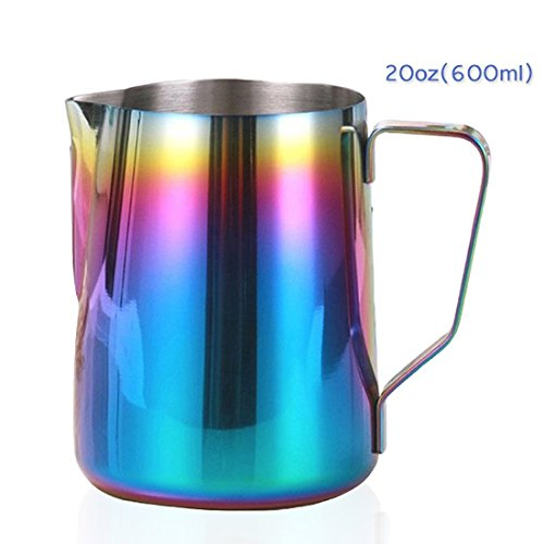 Frother Mug (Milk Frothing Pitcher Stainless Steel - BEMINH Rainbow Color Custom Coffee Mugs - Milk Steaming Frother for Espresso Machines,Milk Frothers & Latte Art, Cappuccino Maker (20-Ounce/600ml))
