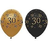 30th Black & Gold Balloons 6pk