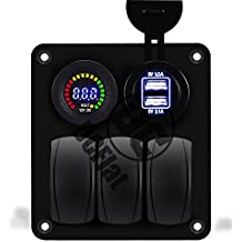 DCFlat Waterproof 3 Gang / 4 Gang / 6 Gang / 8 Gang Car Marine Boat Rocker Switch Panel with Fuse Dual USB + Power Socket Digital Voltmeter Overload Protection for RV Car Boat