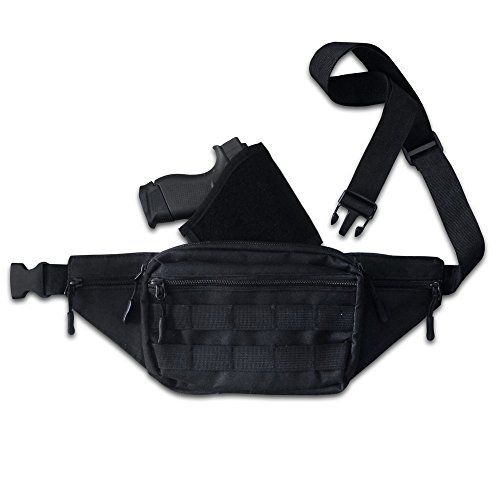 Patriot Pack Tactical Pistol Pack for Concealed Carry. This Black Nylon Light Weight Fanny Pack for Guns has a Compartment with Adjustable Holster for Compact and Subcompact Pistols.