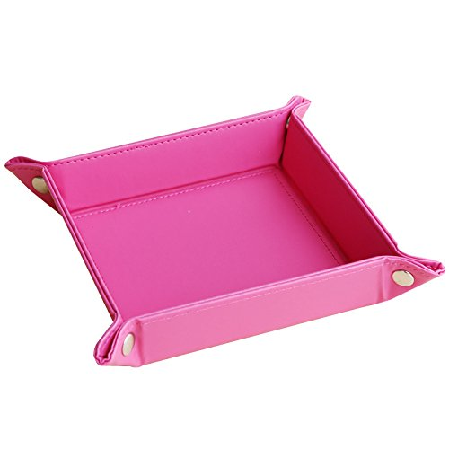 (navor Leather Foldable Jewelry Catchall Key Phone Coin Valet Tray -Pink)