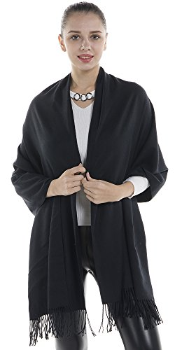 Niaiwei Women Scarf Plaid Blanket Scarves Wraps Shawl winter Cashemere scarf (Black)
